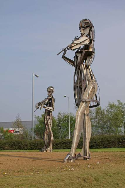 Joan Shannon  'Musicians From Dancers Sculpture Outside Strabane Lifford In Ireland', created in 2011, Original Computer Art.
