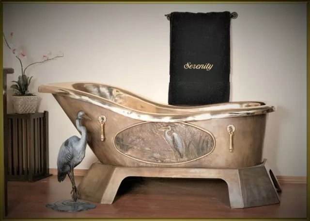 Joe Jumalon: 'Serenity Bath Ensemble', 2019 Bronze Sculpture, Meditation. The Serenity bath ensemble is a very limited edition of 12 exquisite functional art sets.  Bath yourself in elegance in our solid cast bronze bathtub with hand applied 24 kt.  gold and silver ornate accents.  NoteAll cast bronze art pieces will vary slightly in color andor pattern, so no two ...