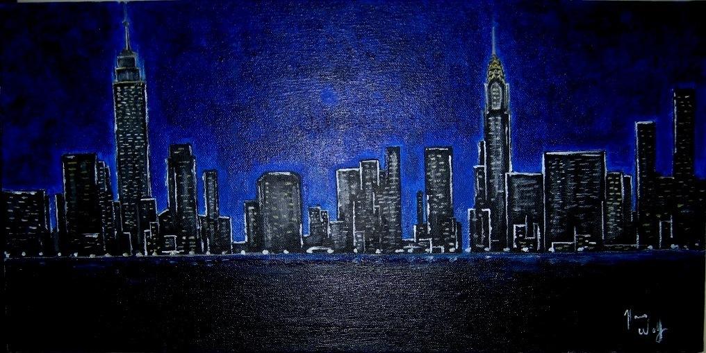 Hans Wolf Artwork Manhattan Skyline At Night Original
