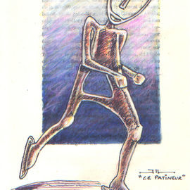Jean-luc Lacroix Artwork Le patineur drawing, 2015 Other Drawing, Humor