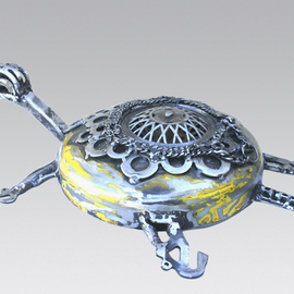 Jean-luc Lacroix Artwork TURTLE EARTH, 2012 Steel Sculpture, Sea Life