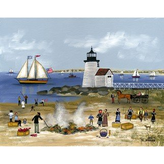 Janet Munro: 'Clam Bake at Brant Point, Nantucket', 2015 , Americana. Artist Description:  Clam  Bake at Brant Point, NantucketThese certified archival giclee reproductions are made with the most advanced technology. They retain the minute detail, subtle tints, blends and feel of the original painting - and are of the same high quality as gicle prints being shown in major museums and ...