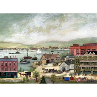 Janet Munro: 'North Bay Harbor', 2015 , Americana. Artist Description:  North Bay HarborThese certified archival giclee reproductions are made with the most advanced technology. They retain the minute detail, subtle tints, blends and feel of the original painting - and are of the same high quality as gicle prints being shown in major museums and galleries, such as ...