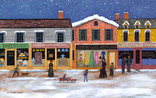 Janet Munro Artwork Winter On Main Street Original
