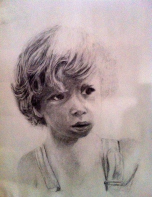 Pencil Drawing by Jose Luis Mu�oz Rodriguez titled: Childhood, 2014