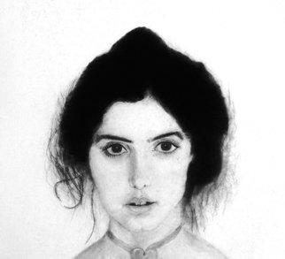 Pencil Drawing by Jose Luis Mu�oz Rodriguez titled: Young lady, 1984