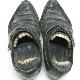 Jill M. Armstrong: 'duet', 2004 Mixed Media Sculpture, Surrealism. Artist Description: A pair of women' s shoes fitted with a set of porcelain teeth from a denturist...