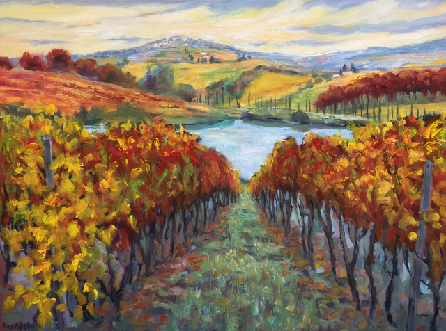 John Maurer  'Into Tuscan Vines', created in 2018, Original Painting Acrylic.