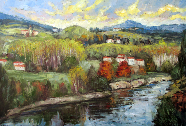 John Maurer  'River Serchio Lucca Italy', created in 2017, Original Painting Acrylic.