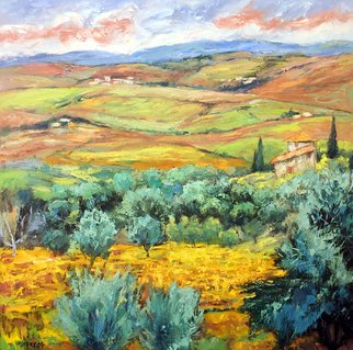 John Maurer: 'Tuscanys Finest', 2017 Oil Painting, Landscape. Artist Description: Oil on canvas. A scene from the heart of Tuscany, the charming village of Montalcino. Comes framed in a brushed silver floater frame. ...