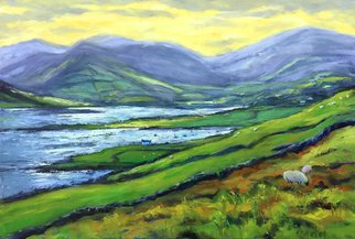John Maurer: 'afternoon dingle peninsula', 2020 Oil Painting, Landscape. This is a painting from a recent trip to Ireland. One of the countless, amazing views I encountered. Oil on canvas. Framed in a brushed silver  floater  frame with black sides. ...