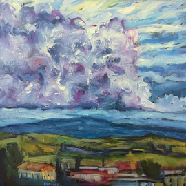 evening sky volterra italy  By John Maurer