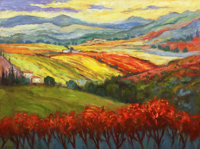 John Maurer  'On The Chianti Trail', created in 2020, Original Painting Acrylic.