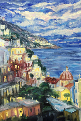 John Maurer Artwork positano in the evening, 2017 Oil Painting, Landscape