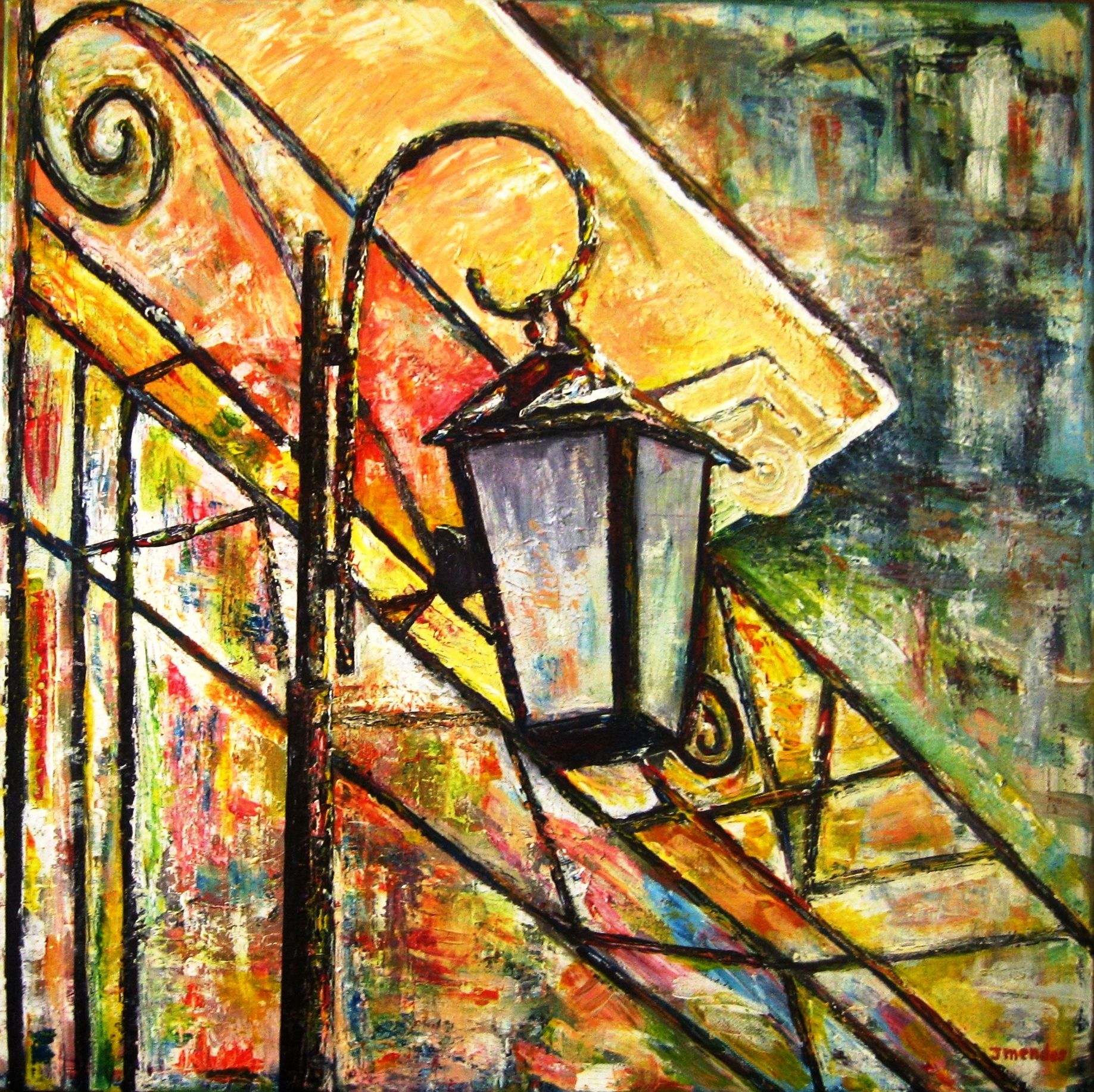 Jorge Mendes Artwork Colorful Street Lamp Original