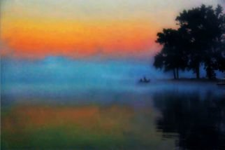 Mark Goodhew: 'Fishing in the Mist', 2015 Color Photograph, Landscape. Artist Description:  fisherman fishing on a misty summer morning  ...
