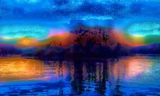 Mark Goodhew: 'Olin Lake Island Sunset', 2015 Color Photograph, Abstract Landscape. Artist Description: Summer sunrise on a frozen winter lake ...