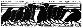 Joan Colbert: 'Promenade of Crows', 2006 Linoleum Cut, Birds. From the Pictures at an Exhibition series inspired by Modest Moussorgsky' s music of the same name.  ...
