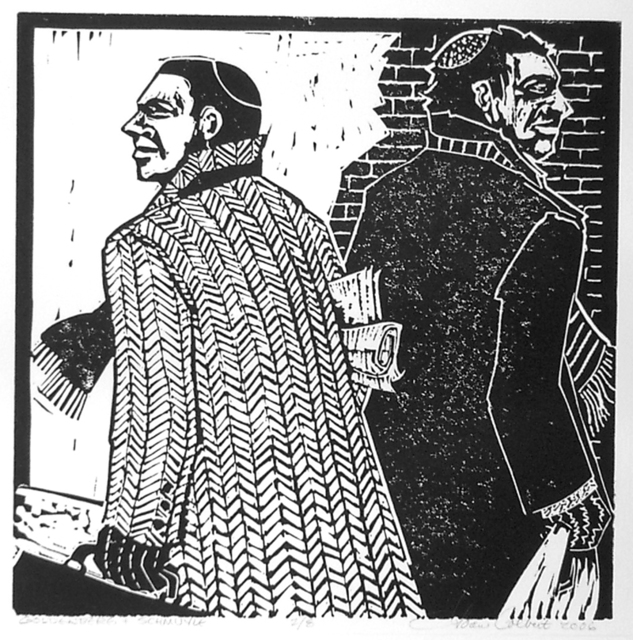 Joan Colbert  'Samuel Goldenberg And Schmuyle', created in 2006, Original Printmaking Linoleum.