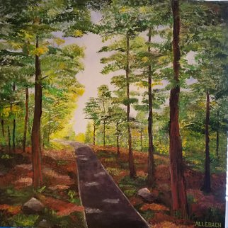 Jo Allebach: 'bike path', 2019 Acrylic Painting, Landscape. The forest is such a lovely place to take a bike ride on the path. The dappled sun keeps it just the right temperture for a delightful day. ...