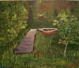 Jo Allebach: 'boat dock', 2019 Acrylic Painting, Children. The boat is tied up to the end of the dock waiting for you to come take it for a ride. This summer green New Englad lake is cool and eager to bring peace to your mind. ...