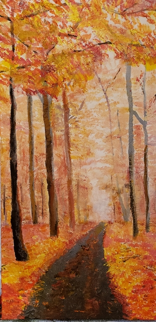 Jo Allebach  'Foggy Autumn Morn', created in 2019, Original Painting Acrylic.