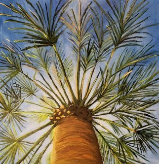 Jo Allebach: 'palm tree', 2018 Acrylic Painting, Trees. Palm Tree, Blue Sky, Unique view, View from underneath palm tree, Looking up at palm tree...