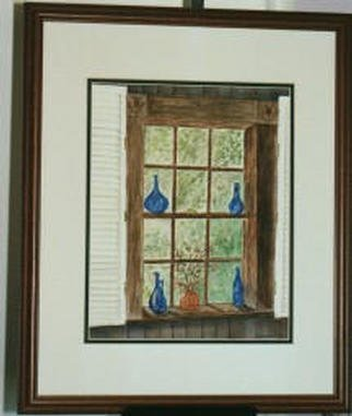 Artist: Joanna Batherson - Title: Cafe Window - Medium: Watercolor - Year: 2003