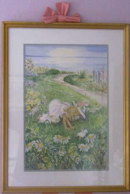 Joanna Batherson: 'In the Daisies', 2003 Watercolor, Children. An original framed watercolor inspired by all little girls who love flowers. ...