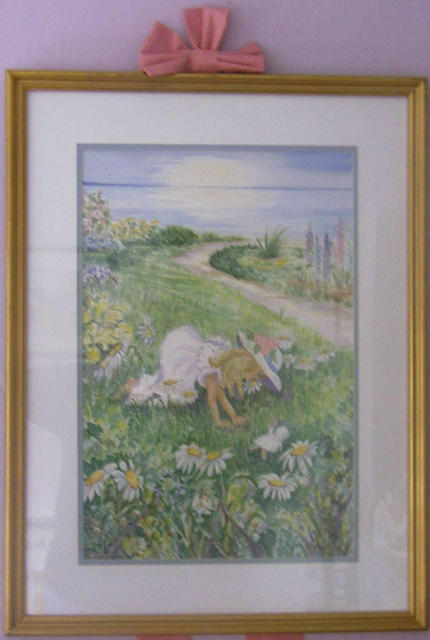 Joanna Batherson  'In The Daisies', created in 2003, Original Watercolor.