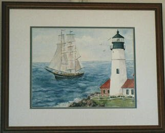 Artist: Joanna Batherson - Title: Tall Ship Passing Portland Head Light - Medium: Watercolor - Year: 2003