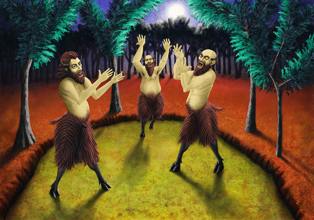 Joao Werner  'Three Satyrs Singing', created in 2016, Original Digital Art.