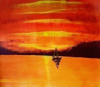 Joe Scotland: 'a glorious sundown', 2018 Acrylic Painting, Inspirational. Artist Description: They sailed not listening to the weather forcast, they sailed into a glorious , gorgeous sunset its so breathtaking, such a calming view, a relaxing and soothing time. The inspiration for this painting was some holiday pictures I saw. I used acrylics because it drys quicker this paintig is ...