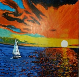 Joe Scotland: 'beauty of the sunset', 2017 Acrylic Painting, Seascape. Artist Description: The lovely colours of this beautiful sunseton stretched canvas...