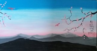 Joe Scotland: 'blossoms of the beauty', 2017 Acrylic Painting, Mountains. Artist Description: blossoms, mountains, birds, sky...