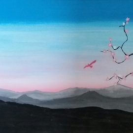 Joe Scotland Artwork blossoms of the beauty, 2017 Acrylic Painting, Mountains