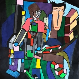 Joe Scotland: 'not happy', 2018 Acrylic Painting, Figurative. Artist Description: I enjoy doing cubism its usually my ideas but I have had inspiration artists such as Picaso. I used acrylics on this picture because it drys quicker. the Picture is for sale its done on quality paper.The picture is about two unhappy guys they each think that ...