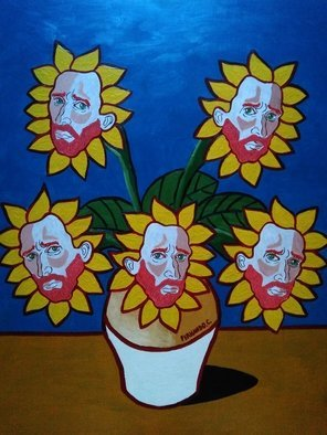 Fernando Javier  Cantera: 'BLUE OBSESSION ', 2017 Oil Painting, Fantasy. Artist Description: THIS PICTURE IS A HOMAGE TO VINCENT VAN GOGH.  SHOWS THE OBSESSION OF VAN GOGH FOR THE SUNFLOWERS TO THE EXTEND THAT HE SEES HIS FACE IN EACH SUNFLOWER AS A PORTRAIT.  OALS ON HARDBOARD, 50X70 CMS, 4 MM THICK, VARNISHED, UNFRAMEDJUST THE PAINTING.  FRAMING IS REQUIRED ...