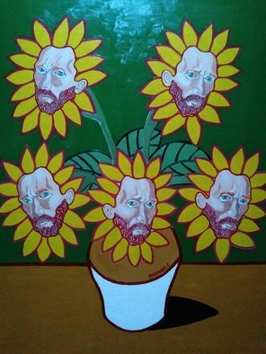 Fernando Javier  Cantera: 'OBSESSION ', 2018 Oil Painting, Fantasy. Artist Description: THIS PICTURE IS IS A HOMAGE TO VINCENT VAN GOGH, SHOWS THE OBSESSION OF VAN GOGH FOR THE SUNFLOWERS TO THE EXTEND THAT HE SEES HIS FACE IN EACH SUNFLOWER AS A PORTRAIT.  OALS ON HARDBOARD, 50X70 CMS, 4 MM THICK, VARNISHED, UNFRAMED, JUST THE PAINTING.  FRAMING ...
