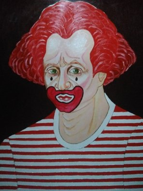 Fernando Javier  Cantera: 'clown with stripes shirt', 2017 Oil Painting, Fantasy. Artist Description: THIS PICTURE IS INSPIRED IN A WORK OF PICASSO.  OALS ON PAPER, 50X70CMS, VARNISHED, UNFRAMEDJUST THE PAPER.  ...