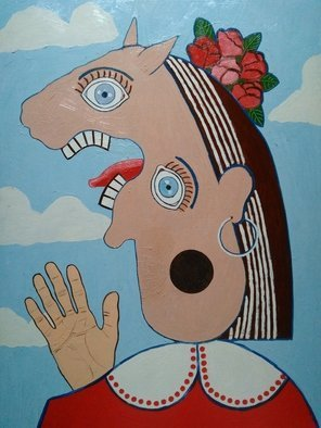 Fernando Javier  Cantera: 'head of spanish woman singing', 2017 Oil Painting, Fantasy. Artist Description: THIS PICTURE IS INSPIRED IN A WORK OF PICASSO.  OALS ON HARDBOARD, 50X70 CMS, 2 CMS THICK, VARNISHED, UNFRAMEDREADY TO HANG...