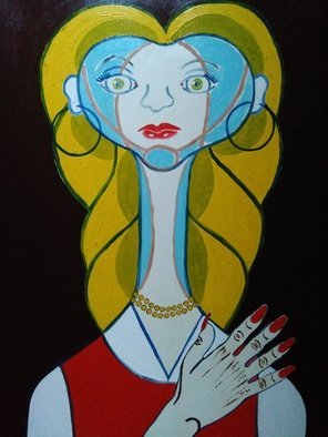 Fernando Javier  Cantera: 'lady space', 2017 Oil Painting, Fantasy. Artist Description: THIS PICTURE IS INSPIRED IN A WORK OF PICASSO.  SHOWS A MISTERIOUS WOMAN FROM OUTER SPACE WITH LONG NECK AND JEWELS.  OALS ON STRETCHED CANVAS, 50X70 CMS, 2 CMS THICK, VARNISHED, UNFRAMED. ...