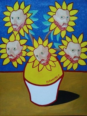 Fernando Javier  Cantera: 'obsession', 2014 Oil Painting, Fantasy. Artist Description: THIS PICTURE IS A HOMAGE TO VINCENT VAN. SHOWS THE OBSESSION OF VAN GOGH FOR THE SUNFLOWERS TO THE EXTEND THAT HE SEES HIS FACE IN EACH SUNFLOWER AS A PORTRAIT. OALS ON STRETCHED CANVAS, 40X50CMS, VARNISHED, UNFRAMED. ...