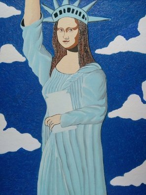 Fernando Javier  Cantera: 'statue of liberty 2000', 2014 Oil Painting, Fantasy. Artist Description: THIS PICTURE SHOWS THE PORTRAIT OF MONA LISA POSING AS THE STATUE OF LIBERTY. THIS IS MY VISIA