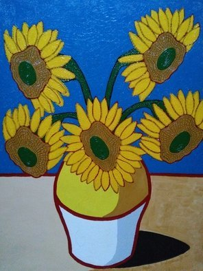 Fernando Javier  Cantera: 'sunflowers', 2017 Oil Painting, Fantasy. Artist Description: THIS PICTURE IS A HOMAGE TO VINCENT VAN. SHOWS THE SUNFLOWERS WITH THE SHAPE OF VAN GOGH  S HEAD AS A PORTRAIT. OALS ON STRETCHED CANVAS, 40X50CMS, VARNISHED, UNFRAMED. ...