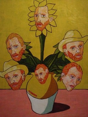 Fernando Javier  Cantera: 'yellow obsession', 2018 Oil Painting, Fantasy. Artist Description: THIS PICTURE IS A HOMAGE TO VINCENT VAN.  SHOWS THE OBSESSION OF VAN GOGH FOR THE SUNFLOWERS TO THE EXTEND THAT HE SEES HIS FACE IN EACH SUNFLOWER AS A PORTRAIT IN A YELLOW BACKGROUND.  OALS ON HARDBOARD, 50X70 CMS, 4 MM THICK, VARNISHED, UNFRAMED.  JUST THE ...