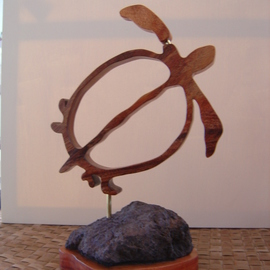 Joel P Heinz Sr.: 'Petroglyph Honu', 2007 Wood Sculpture, Culture. Artist Description:  Honu is carved from Hawaiian Koa and is mounted on a lava and Koa baise. Petroglyphs are carved into the lava. ...