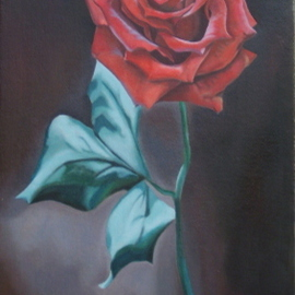 Joey Johnson Artwork Red Rose, 2009 Oil Painting, Floral
