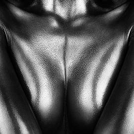 Johan Swanepoel: 'female nude silver oil 2', 2019 Black and White Photograph, Nudes. Artist Description: Nude abstract and figurative bodyscape of a naked woman covered with thick silver oil. Sensual fine art close- up photography of the female breasts and upper body with shiny reflections on the bare skin...