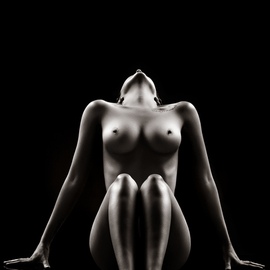 Johan Swanepoel: 'nude bodyscape reflections 1', 2019 Black and White Photograph, Nudes. Artist Description: Nude bodyscape of a naked woman sitting on a black glass with reflections against a black background. Sensual fine art photography of a female breast and full body photographed from the front...